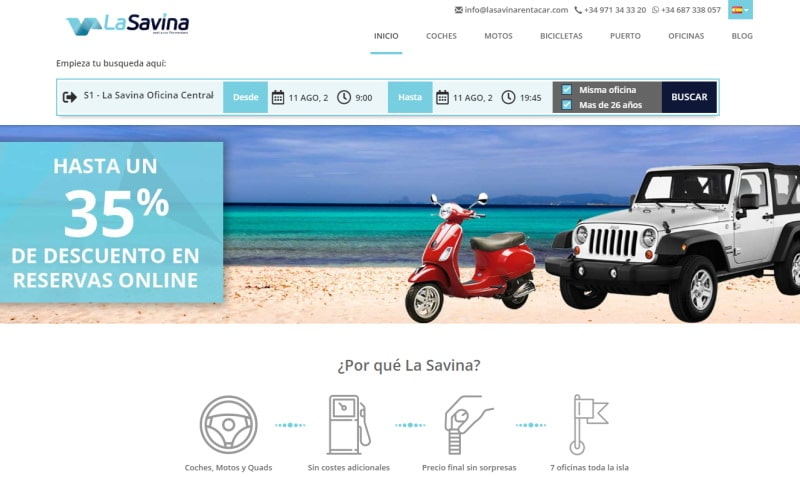 La Savinta Rent a Car, alquila moto en Formentera